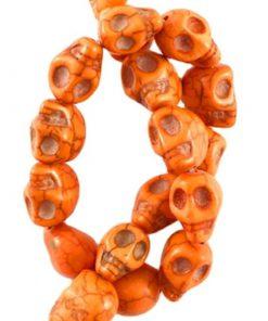 Turquoise keramiek skull kralen 10x8mm oranje