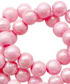 Acryl kralen 8mm marble pearl pink