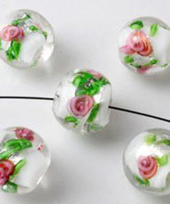 Glaskralen Italian style rond wit met roze bloemen ± 13X14MM