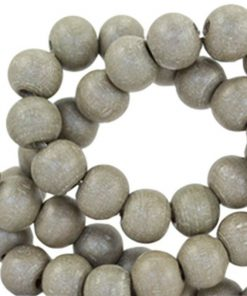 Houten kralen rond 6 mm Moss grey