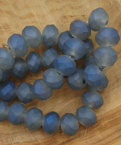 Facet kralen 8x6 mm disc grijs met blauwe glans