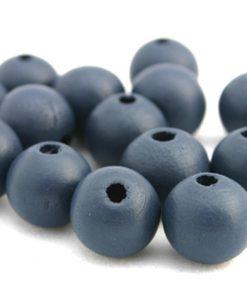 Houten Kralen Donkerblauw grijs 12mm