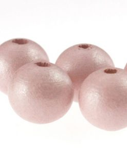 Houten Kralen Ibiza pink 10mm