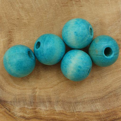 Houten Kralen Turquoise nature 12mm