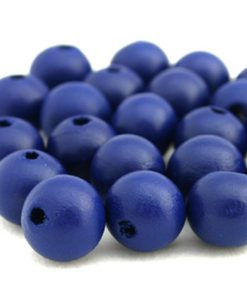 Houten Kralen Hollands blauw 16mm