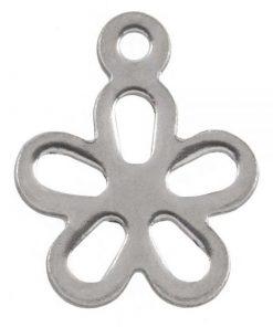 Stainless Steel Bedel Bloem (7 x 7 mm) Antiek Zilver