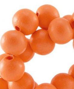 Houten Kralen Zacht oranje 10mm