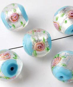 Glaskralen Italian style rond Aqua met roze bloemen