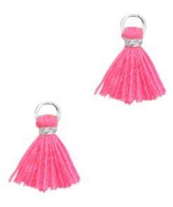 Mini kwastjes Ibiza style Zilver-Neon pink