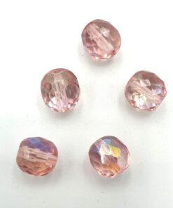 Facet glaskralen rond 10mm Licht roze AB