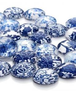 Cabochon blauw wit 12mm
