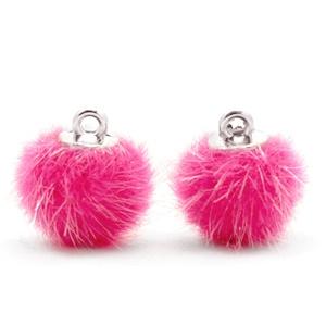 Pompom bedels light pink faux fur 12mm Magenta pink