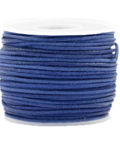 DQ Leer rond 1 mm Antique blue